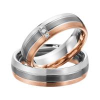 2 x Trauringe mit Diamant 585er Palladium & Silber - Shadow Line - R949