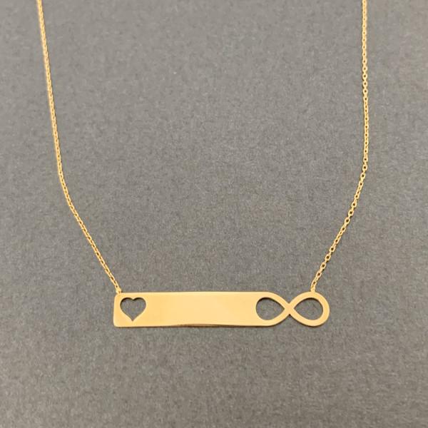 Collier mit Anhänger Infinity Herz 585er Gold Kettenanhänger Kette inkl. Etui