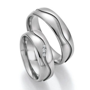 2 x Trauringe mit Diamant - White Style Titan Evolution...