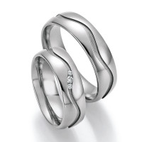 2 x Trauringe mit Diamant - White Style Titan Evolution Brilliant 77/20090-060