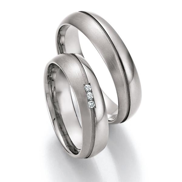 2 x Trauringe mit Diamant - White Style Titan Evolution Brilliant 77/20130-060