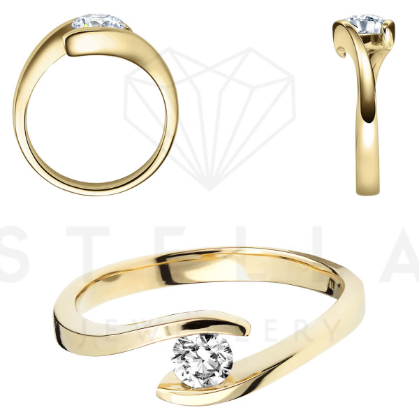 Damen 585er Gelbgold 0,10 ct. Diamant Spannring Verlobung Solitär Antragsring