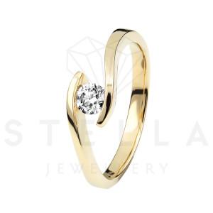 Damen 585er Gelbgold 0,15 ct. Diamant Spannring Verlobung...
