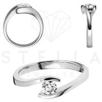 Damen 585er Weißgold 0,10 ct. Diamant Spannring Verlobung Solitär Antragsring