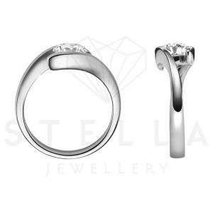 Damen 585er Weißgold 0,50 ct. Diamant Spannring Verlobung Solitär Antragsring