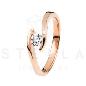 Damen 585er Rotgold 0,10 ct. Diamant Spannring Verlobung...