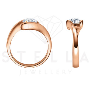 Damen 585er Rotgold 0,10 ct. Diamant Spannring Verlobung Solitär Antragsring