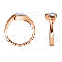 Damen 585er Rotgold 0,15 ct. Diamant Spannring Verlobung Solitär Antragsring