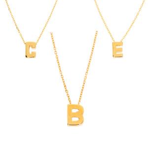Damen Halskette mit Buchstaben Anhänger Gold 585...