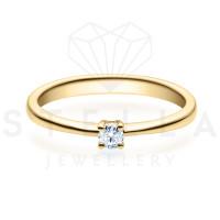 Verlobungsring Solitaire 585er Gelbgold 0,10ct. Diamant 4er Krappen Antragsring Gr. 54