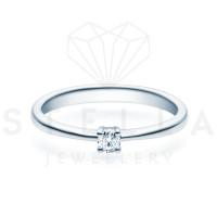 Verlobungsring Solitaire 585er Weißgold 0,10ct. Diamant 4er Krappen Antragsring Gr. 54