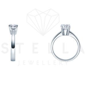 Verlobungsring Solitaire 585er Weißgold 0,15 ct. Diamant 4er Krappen Antragsring