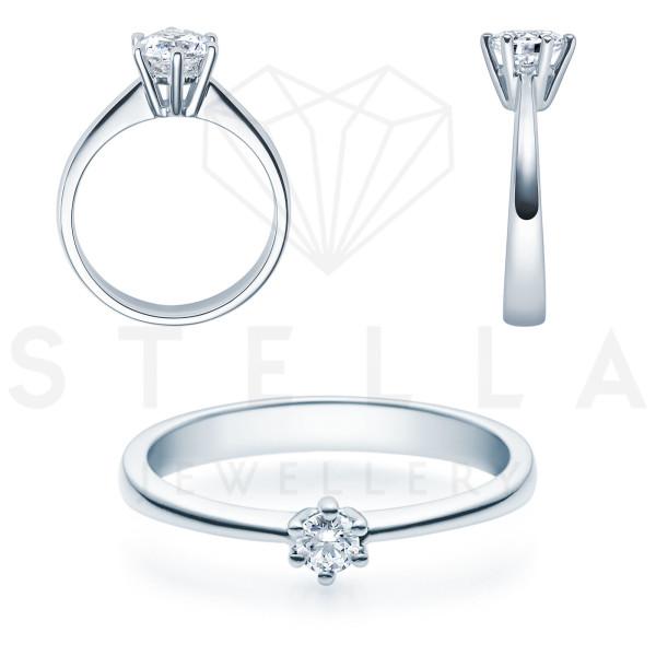 Verlobungsring Solitaire 585er Weißgold 0,10ct. Diamant 6er Krappen Antragsring Gr. 54
