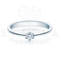 Verlobungsring Solitaire 585er Gelbgold 0,15ct. Diamant 6er Krappen Antragsring Gr. 54