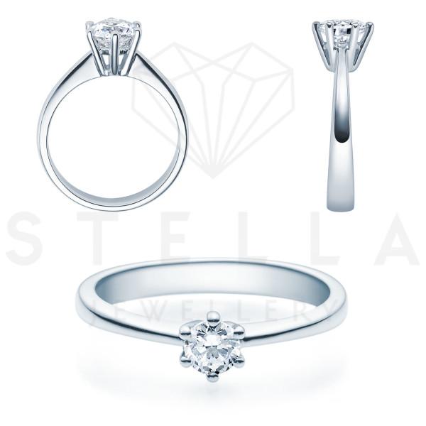 Verlobungsring Solitaire 585er Weißgold 0,35ct. Diamant 6er Krappen Antragsring Gr. 54