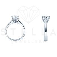 Verlobungsring Solitaire 585er Weißgold 0,42ct. Diamant 6er Krappen Antragsring Gr. 54