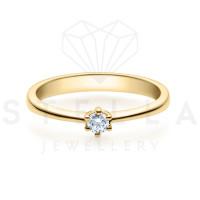 Verlobungsring Solitaire 585er Gelbgold 0,10ct. Diamant 6er Krappen Antragsring Gr. 54
