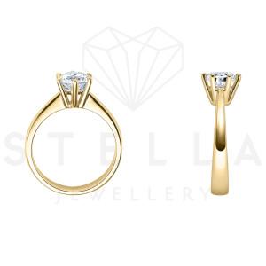 Verlobungsring Solitaire 585er Gelbgold 0,42ct. Diamant 6er Krappen Antragsring Gr. 54