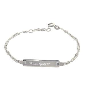 925er Sterlingsilber Kinder ID Armband 15 + 2 cm mit...