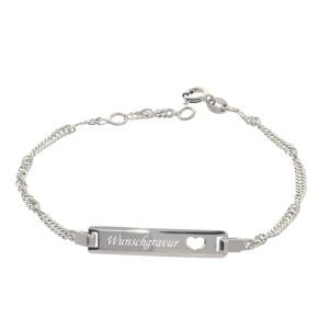 925er Sterlingsilber ID Kinder Armband Herz 17 + 2 cm...