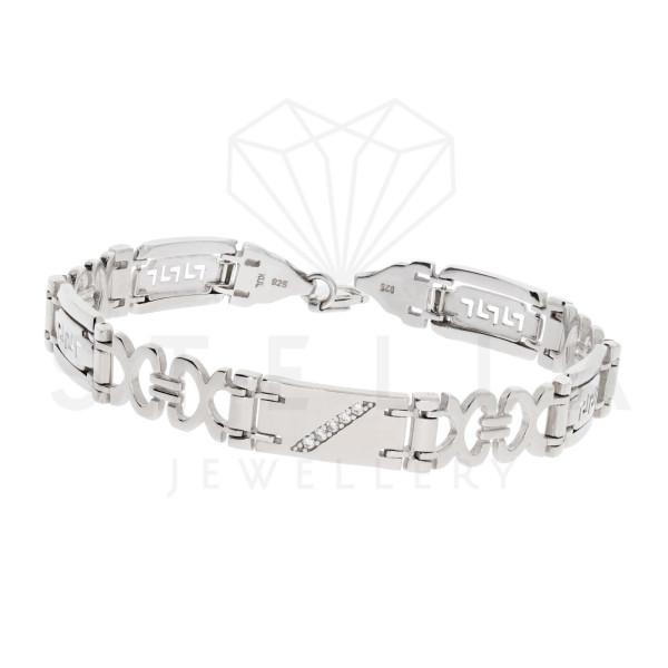 Massive 925er Sterling Silber Armband mit Zirkonia 22 cm Armkette