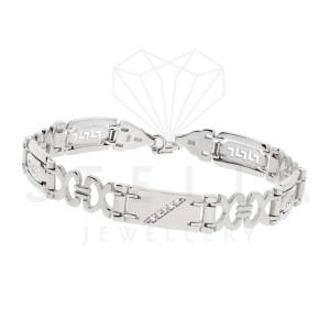 Massive 925er Sterling Silber Armband mit Zirkonia 22 cm...