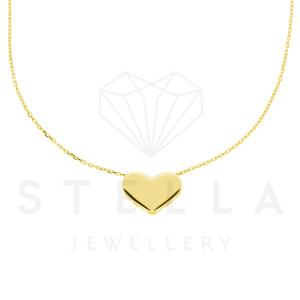 Damen Kette mit Herz Anhänger 585er Gelbgold Halskette 45 cm Herzanhänger