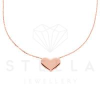 Damen Kette mit Herz Anhänger 585er Rotgold Halskette 45 cm Herzanhänger Collier