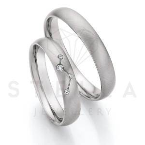 2 x Stahl Trauringe mit Diamant zus. ca. 0,04ct.  -...