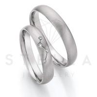 2 x Stahl Trauringe mit Diamant zus. ca. 0,04ct.  - Whitestyle Steel Magic Brilliant - 88/23010-040
