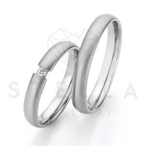 2 x Stahl Trauringe mit Diamant zus. ca. 0,055ct.  -...