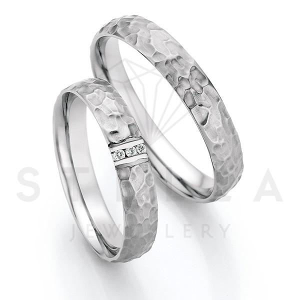 2 x Stahl Trauringe mit Diamant zus. ca. 0,024ct.  - Whitestyle Steel Magic Brilliant - 88/23050-040