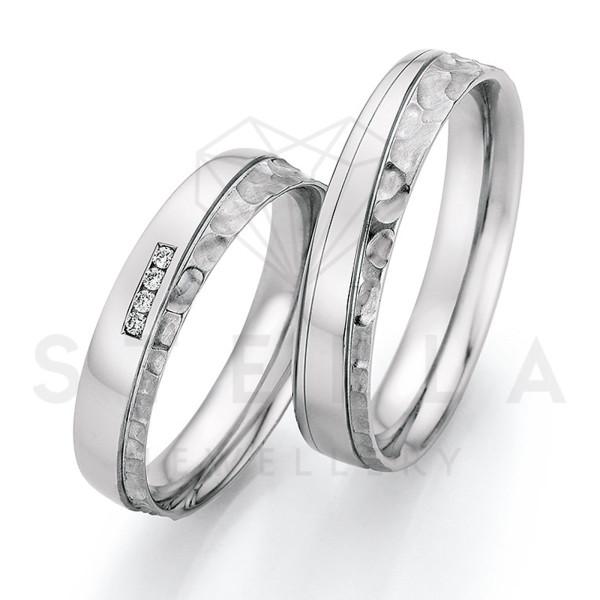 2 x Stahl Trauringe mit Diamant zus. ca. 0,032ct.  - Whitestyle Steel Magic Brilliant - 88/23070-045