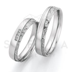 2 x Stahl Trauringe mit Diamant zus. ca. 0,032ct.  -...