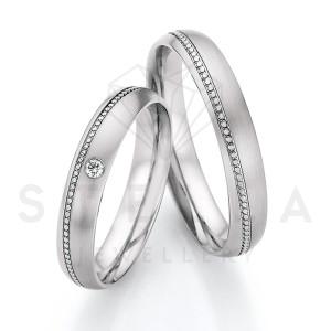 2 x Stahl Trauringe mit Diamant ca. 0,03ct.  - Whitestyle...