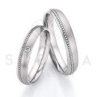 2 x Stahl Trauringe mit Diamant ca. 0,03ct.  - Whitestyle Steel Magic Brilliant - 88/23090-040