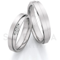 2 x Stahl Trauringe mit Diamanten zus. ca. 0,051ct.  - Whitestyle Steel Magic Brilliant - 88/23110-049