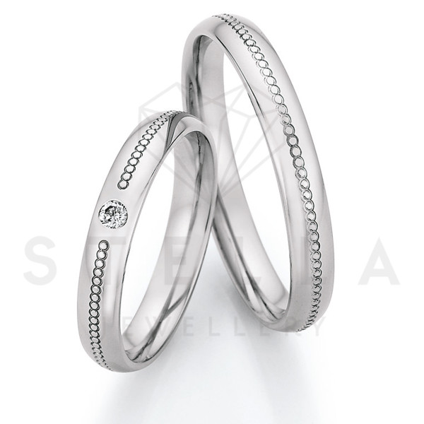 2 x Stahl Trauringe mit Diamant ca. 0,055ct.  - Whitestyle Steel Magic Brilliant - 88/23130-035