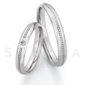 2 x Stahl Trauringe mit Diamant ca. 0,055ct.  -...