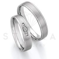 2 x Stahl Trauringe mit Diamanten zus. ca. 0,075ct.  - Whitestyle Steel Magic Brilliant - 88/23150-045