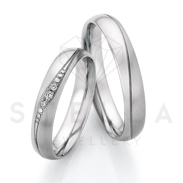 2 x Stahl Trauringe mit Diamanten zus. ca. 0,036ct.  - Whitestyle Steel Magic Brilliant - 88/23170-040