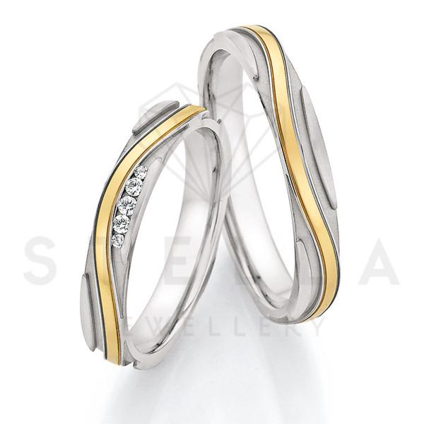 2 x Stahl/585er Gold Trauringe mit Diamanten zus. ca. 0,051ct.  - Whitestyle Steel & Gold Forevert - 88/24010-035