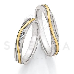 2 x Stahl/585er Gold Trauringe mit Diamanten zus. ca....
