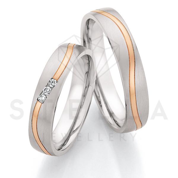 2 x Stahl/585er Gold Trauringe mit Diamanten zus. ca. 0,06ct.  - Whitestyle Steel & Gold Forevert - 88/24030-045