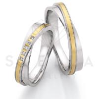 2 x Stahl/585er Gold Trauringe mit Diamanten zus. ca. 0,05ct.  - Whitestyle Steel & Gold Forevert - 88/24050-050