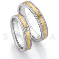 2 x Stahl/585er Gold Trauringe mit Diamanten zus. ca. 0,04ct.  - Whitestyle Steel & Gold Forevert - 88/24070-045