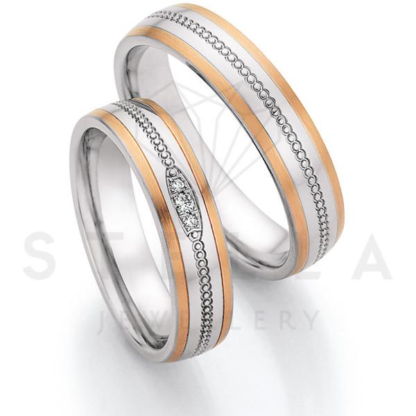 2 x Stahl/585er Gold Trauringe mit Diamanten zus. ca. 0,03ct.  - Whitestyle Steel & Gold Forevert - 88/24090-050