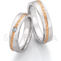 2 x Stahl/585er Gold Trauringe mit Diamant ca. 0,055ct.  - Whitestyle Steel & Gold Forevert - 88/24110-050