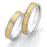 2 x Stahl/585er Gold Trauringe mit Diamant ca. 0,035ct.  - Whitestyle Steel & Gold Forevert - 88/24170-045