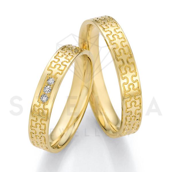 2 x 585er Gold Trauringe mit Diamanten ca. 0,045ct.  - Honeymoon Solid XIII - 66/66010-040